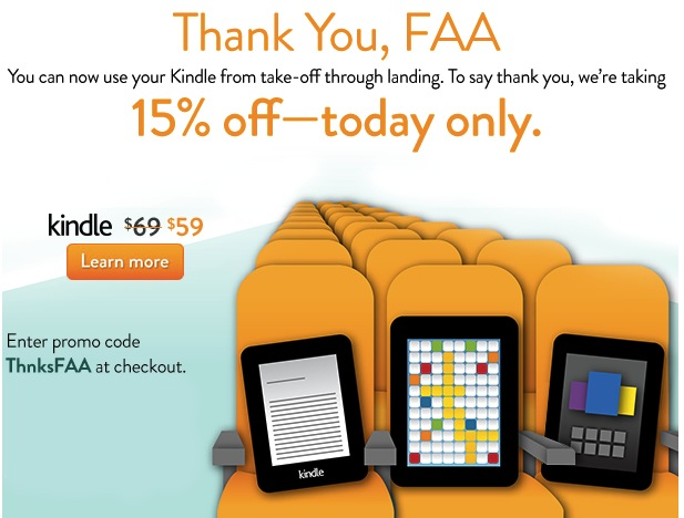 15% off select Kindle ereaders or tablets