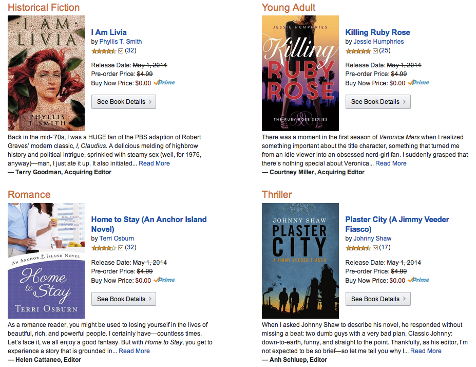 April Kindle First Books