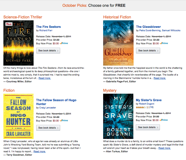 October 2014 Kindle first Books